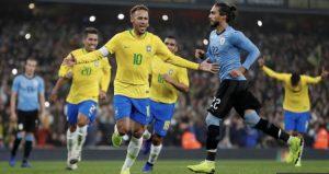 Neymar cavani suarez tite brasil uruguai